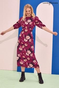 Love & Roses Balloon Sleeve Empire Midi Dress