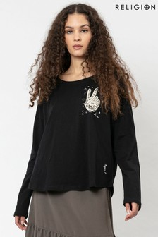 Religion Long Sleeved Slogan Top With Foil Detailing