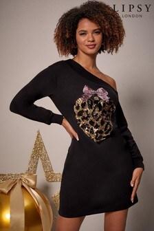Lipsy Xmas Sequin Bauble Slash Neck Dress