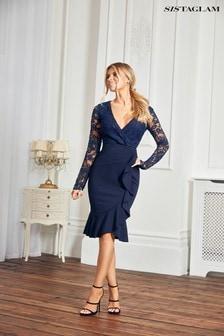 Sistaglam Long Sleeve Lace Ruffle Dress