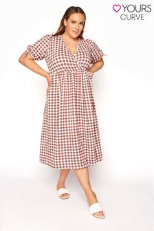 Yours Limited Midi Wrap Dress Gingham