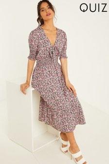 Quiz Ditsy Print Tie Neck Midi Dress