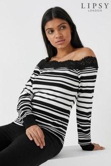 Lipsy Knitted Bardot Long Sleeve Stripe Jumper