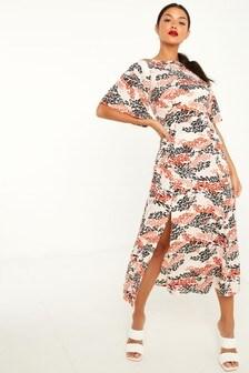 Quiz Leopard Print Midi Dress