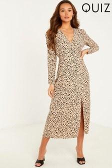 Quiz Animal Print Wrap Midi Dress