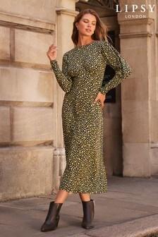 Lipsy Long Puff Sleeve Midi Dress