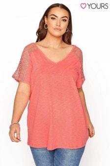 Yours Lace Shoulder Slub T-Shirt