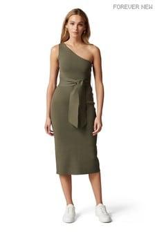 Forever New Lauren One Shoulder Midi Knit Dress