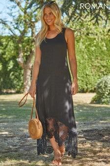 Roman Crochet Hem Midi Dress