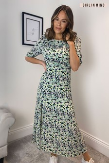 Girl In Mind Margot 3/4 Sleeve Front Split Midi Dress