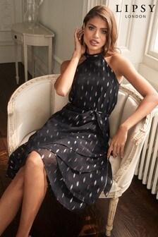 Lipsy Halter Ruffle Midi Dress