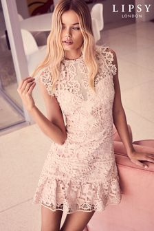 Lipsy Nude Lace Flip Hem Bodycon Dress