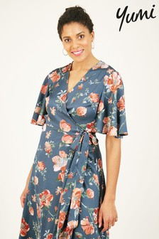 Yumi Satin Floral 'Elissa' Midi Dress