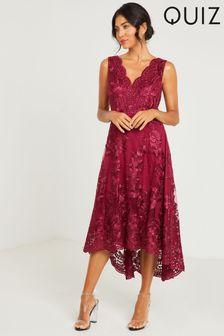 Quiz Embroidered Dip Hem Dress
