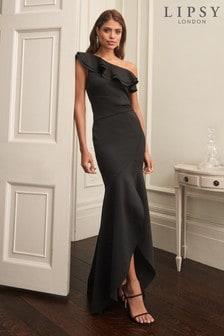 Lipsy Ruffle One Shoulder Maxi Dress