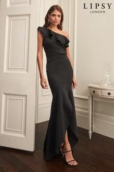 Lipsy Petite Black Ruffle One Shoulder Maxi Dress