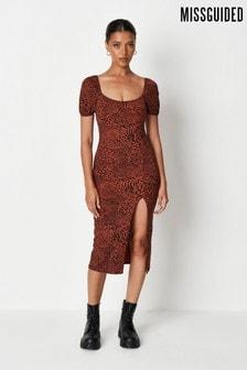 Missguided Milkmaid Split Midaxi Dress