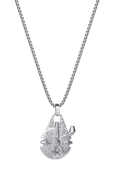Peers Hardy Star Wars Silver Stainless Steel Millennium Falcon Pendant with Box Chain