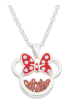 Peers Hardy Minnie Silver Plated Brass with Red enamel Bow  January Birthstone Floating Stone Necklace