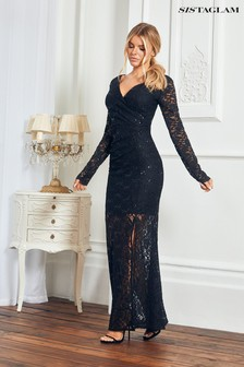Sistaglam All Over Sequin Lace Maxi Dress