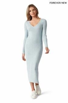Forever New Kourtney V Neck Rib Knit Dress