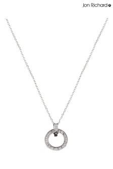 Jon Richard Rhodium Baguette Stone Cubic Zirconia Necklace