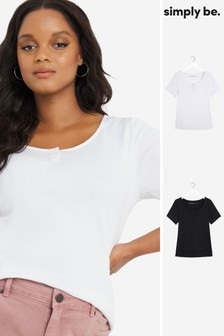 Simply Be Black / White 2 Pack Button Trim Tops