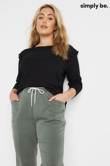 Simply Be FRILL RIBBED TOP