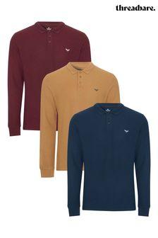 Threadbare 3 Pack Cotton Long Sleeve Polo Shirts