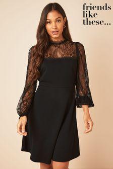 Friends Like These Lace Yoke Mini Long Sleeve Dress