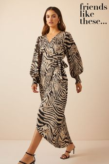 Friends Like These Satin Wrap Midi Dress