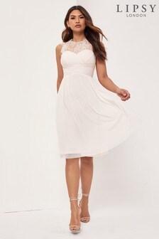 Lipsy Petite Nude Lace Top Midi Dress
