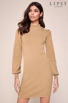 Lipsy Button Knit Jumper Dress