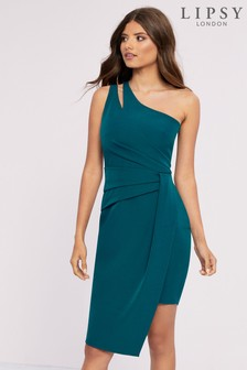 Lipsy Petite Green One Shoulder Bodycon Dress