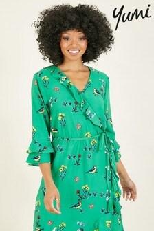 Yumi Safiya' Bird Print Wrap Dress
