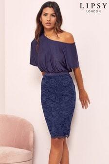 Lipsy 2 in 1 Lace Slash Neck Dress