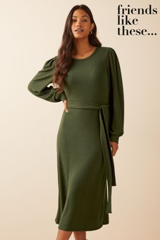 Friends Like These Long Sleeve Soft Touch Belted Midi Dress