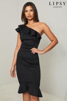 Lipsy Black One Shoulder Flippy Hem Midi Dress