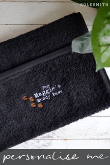 Personalised Embroidered Pet Towel by Solesmith