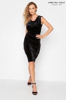 Long Tall Sally Cowl Neck Velvet Dress