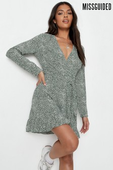 Missguided Ruffle Hem Sprinkle Wrap Tea Dress
