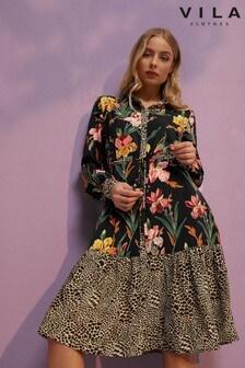 Vila Long Sleeve Midi Dress