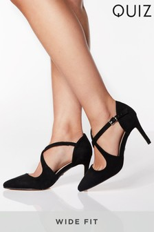Quiz Wide Fit Pointed Court Shoes