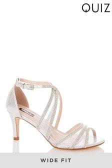 Quiz Wide Fit Satin Diamante Mesh Mix Cross Strap Heeled Sandals