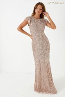 Maya All Over Sequin Maxi Dress With Ruffle Sleeve