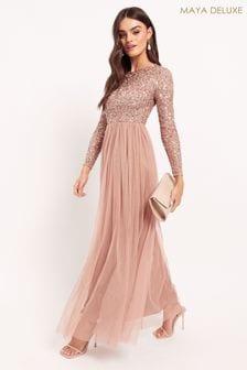 Maya Long Sleeve Delicate Sequin Maxi Dress