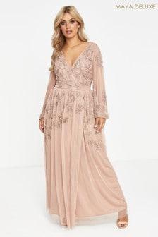 Maya Curve Wrap Maxi Dress With Contrast Embellishment