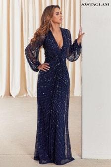 Sistaglam Sequin Wrap Maxi Dress