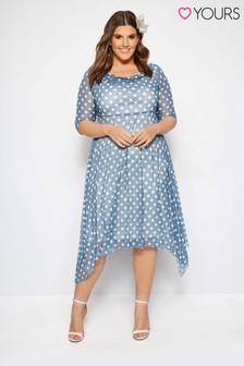 Yours Curve Polka Dot Midi Dress With Cowl Neckline
