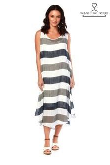 Want That Trend Stripe Print Midi Dress
